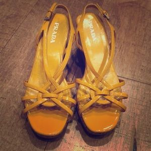 Prada mustard yellow cork sandal wedges-36 1/2